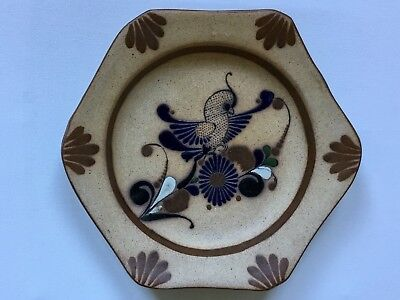 Mexican Vintage S Mex Signed Tonala Clay Pottery Dish w. birds LARGER 11 Inches