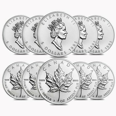 Lot of 10 - 1993 1 oz Silver Canadian Maple Leaf .9999 Fine $5 Coin BU (Sealed)