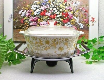 Corning Ware  FLORAL BOUQUET Party Buffet Casserole Pyrex Lid & Stand  P-2 1/2-B