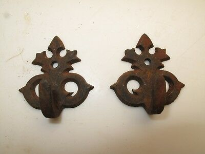 Pair Petite  Antique Cast Iron Ornate Coat Hook/s Unusual Victorian Vtg Antlers