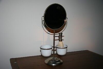 Vintage Shaving Mirror Stand with Milk Glass Shaving Soap Cups and a Shaving Bru