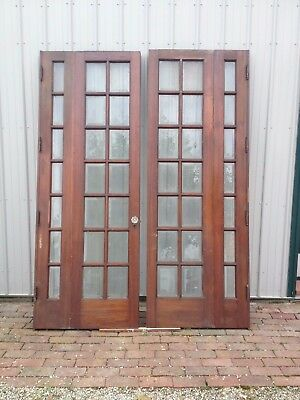 Antique Victorian Bi-Fold French Doors, Beveled Glass-Knobs~OHIO-PICK-UP~ONLY!