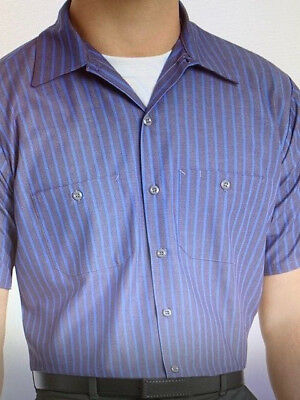 NEW Red Kap Men's Industrial Stripe Poplin Work Shirt  Short Sleeve  Grey/Blue
