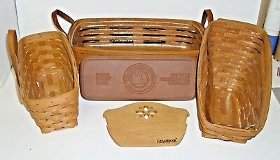 Lot Of 3 Longaberger Baslets, 2 Liners, Bread Basket Brick & Wood Divider