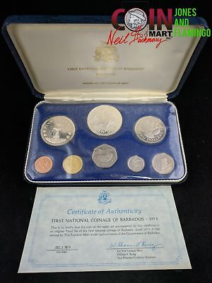 1973 Barbados 1St Natl Coinage Proof 8-Coin Set, $10 Coin Sterling Silver #10507