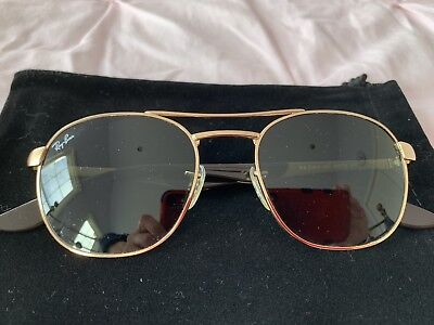 Ray Ban Aviator Sunglasses With Gold Rim-made In Italy