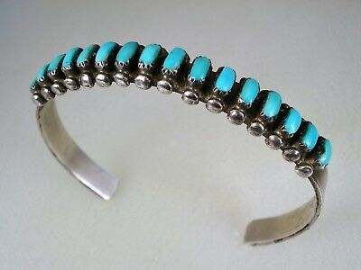 Old Zuni Sterling Silver & 16 Turquoise Row Bracelet
