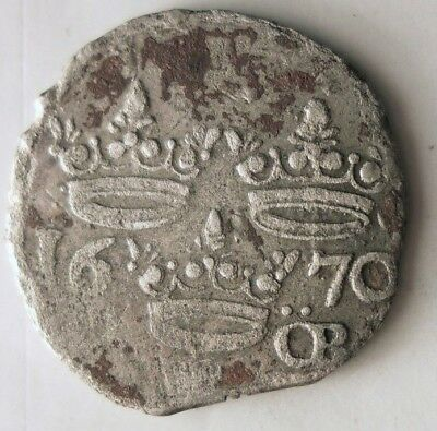 1670 SWEDEN ORE - Very Rare Type - SILVER TYPE - Tons of Details - Lot #N8