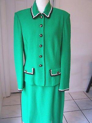 St. John Marie Gray sz 12 Skirt Suit Jacket Blazer Wool Santana Knit Green Black