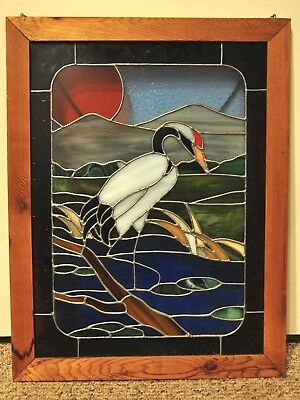 Vintage Stained Glass Hanging Window Panel White Heron Bird Pond Lake Nature Art
