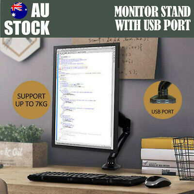 Single Arm Monitor Stand w/ Dual USB HD LED LCD TV Holder Spring Desk Mount