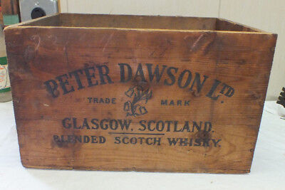 PETER DAWSON GLAGCOW SCOTLAND Whiskey Scotland Wood Liquor Crate Wooden Box