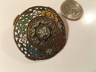 Antique Large Pierced Brass Button Hand Painted French