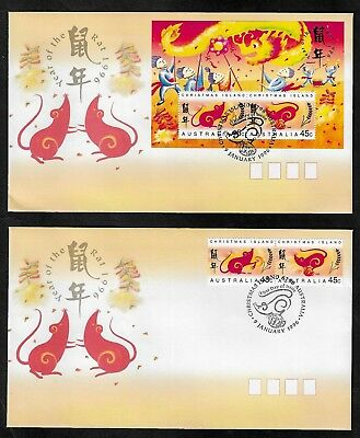 CHRISTMAS ISLAND 1996 Year of the Rat, mini sheet & set FDC x 2 covers