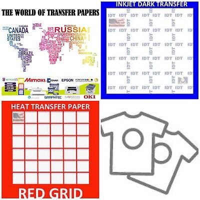 InkJet T Shirt HEAT TRANSFER PAPER Combo 25 Sh Each IDT & Red Grid A4