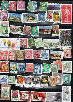 (13-632) 55+ Assorted Cancelled Postal sTamps from Germany