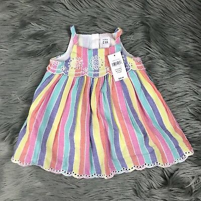 bfa8bf97017b NWT BABY GAP 0-3 Months Girls Pink Yellow Purple Striped Tank Eyelet ...