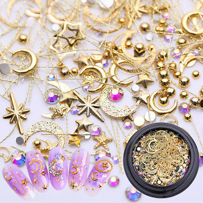 Moon Star AB Color Rhinestone Metal 3D Nail Art Stickers Tips Accessories