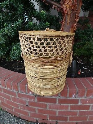 Vintage Native American Indian  Woven Willow Basket