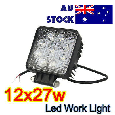 "12x 27W 4"" CREE LED Work Light FLOOD Off Road Truck Boat 12V/24V DC Square Lamps"