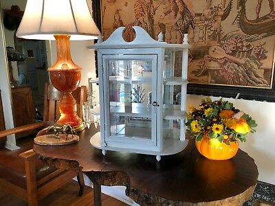 Pntd White Shabby Neat Mirrored Antique Carved Wood Medicine Cabinet Wall Mount