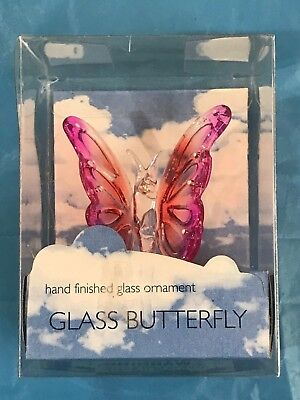 Beautiful Glass Butterfly Hand Finished Ornament-New In Box (Factory Sealed)
