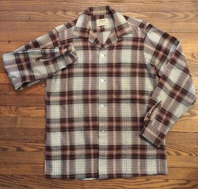 Vintage 50s 60s USA Made ARROW Plaid Wool Blend Loop Collar Shirt Sz S Perfect!!