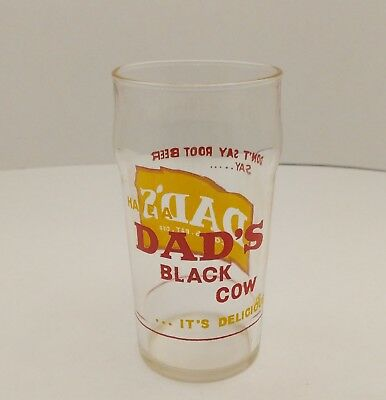 Vintage DAD'S ROOT BEER Black Cow Soda Fountain Drinking Glass