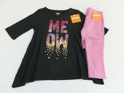 NEW! Gymboree Sparkle Meow Shirt Pink Leggings size 4 5/6 7/8 Tails of the City