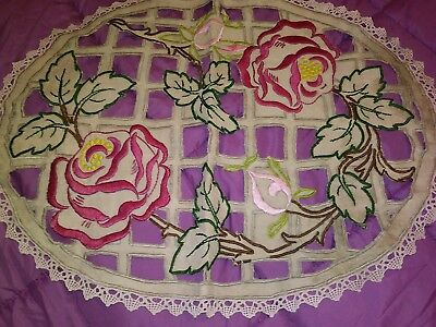 ARTS & CRAFTS MISSION STYLE Hand Embroidered & Cutwork Linen Topper Silk Society