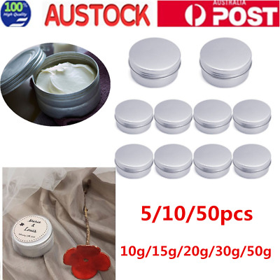 10pcs Empty Aluminium Cosmetic Pot Jar Silver Round Tin Containers 30/50g AU