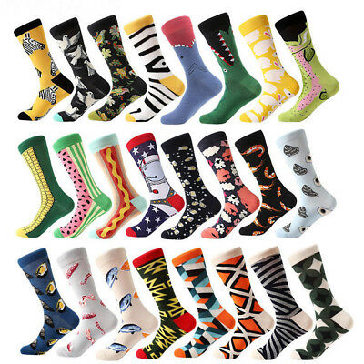 29 Colors Funny Men's Casual Cotton Crew Socks Animal Fruit Print Dress Sock SOX