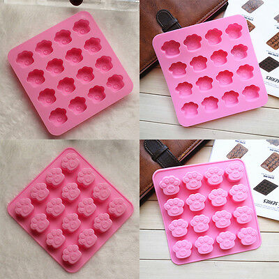 Paw Print Silicone Cookie Cake Candy Chocolate Mold Soap Ice Cube Mould Pink