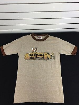 Vintage Disney The Fox And The Hound Ringer 80s T-Shirt Brown Rare Small
