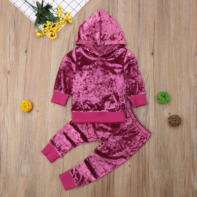 Toddler Kids Baby Girl Velvet Hoodie T-shirt Top Long Pants Outfit Set Tracksuit