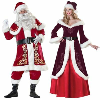 Adult Santa Costume Regal Plush Father Christmas Suit Fancy Dress Xmas Outfit US