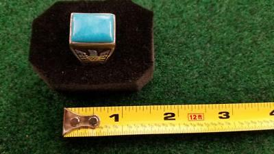 Old Pawn Men's Ring, Easter Blue Mine, Sterling Silver Size 11.5