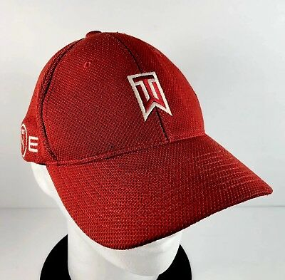 1372aae0 NIKE ONE Tiger Woods TW SQ Men's Stretch Flex Fit Golf Baseball Hat Red  White