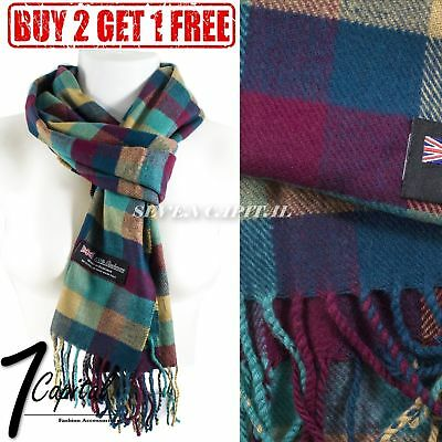 Women Winter Warm Soft 100% Cashmere Scarf Scotland Made High Quality Plaid Wool