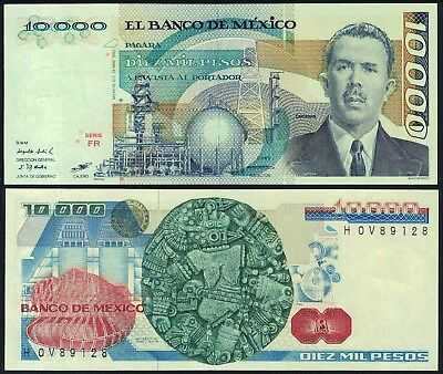 #0754: BANCO DE MEXICO 20th 10K NOTE - $12.50 VALUE* - STARTING BID ONLY $1.95