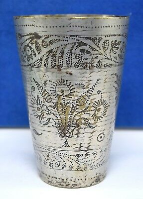 Old  Brass Design Rajasthani Water Glass Home Kitchen Milk Lassi Cup. G66-308 AU