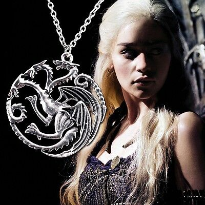 Game of Thrones Daenerys Targaryen Dragon Necklace Khalessi Sigil Pendant Chain