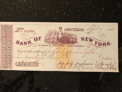 "Antique cashed check ""Lanman & Kemp Druggists"" on Bank of New York, 1869"