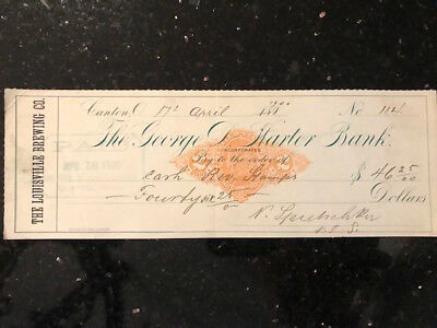 "Antique cashed check ""Louisville Brewing Co"" on George D Harter Bank, 1900"