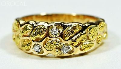 """Gold Nugget Men's Ring """"Orocal"""" RM210D9 Genuine Hand Crafted Jewelry - 14K Casti"""