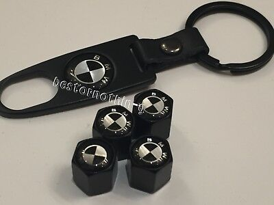 4 x Black Tyre Valve Dust Caps WITH KEY RING (fits bmw) M 5 1 2 3 4 6 7 Sport X5
