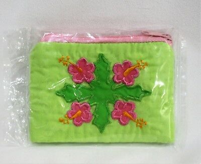Hawaiian Quilt Coin Purse Handmade Hibiscus Floral Design Jewelry Pouch