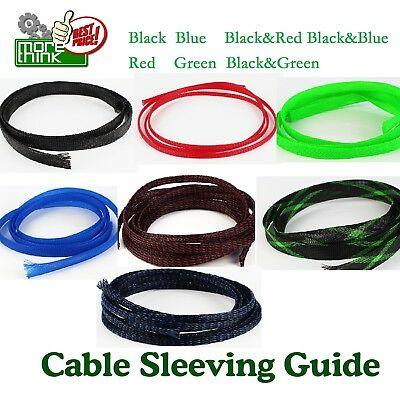 24ft Braided Expandable Sleeve Wire Weave Cable Loom Sleeving Choose Color Lot