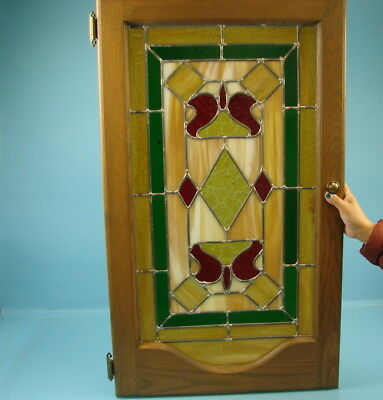 Vintage Antique Stained Glass Window Panel Geometric Pattern Amber Red and Green