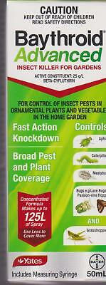 Yates BAYTHROID ADVANCED Fast action Garden Insecticide 50ML makes to 125mL NEW